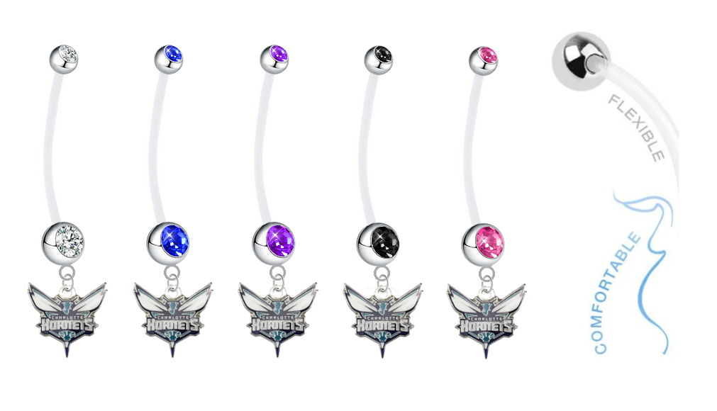 Charlotte Hornets Pregnancy Maternity Belly Button Navel Ring - Pick Your Color