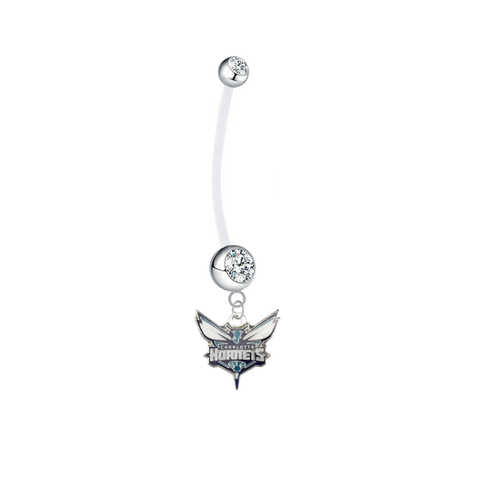 Charlotte Hornets Pregnancy Maternity Clear Belly Button Navel Ring - Pick Your Color