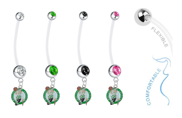 Boston Celtics Pregnancy Maternity Belly Button Navel Ring - Pick Your Color