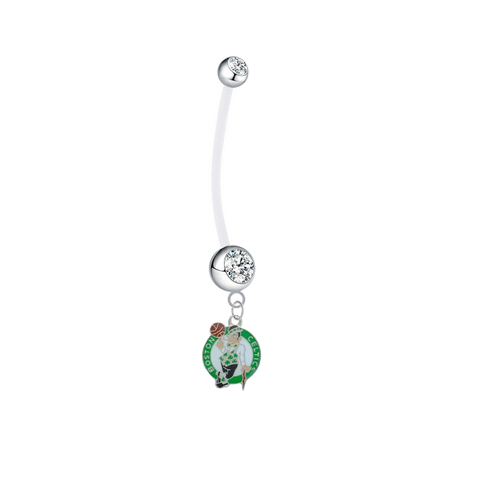 Boston Celtics Pregnancy Maternity Clear Belly Button Navel Ring - Pick Your Color