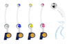 Indiana Pacers Pregnancy Maternity Belly Button Navel Ring - Pick Your Color