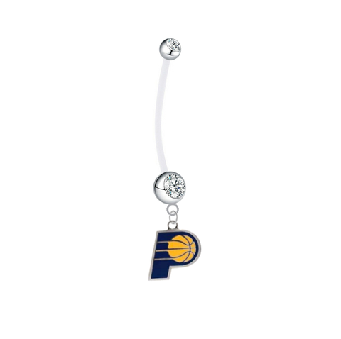 Indiana Pacers Pregnancy Maternity Clear Belly Button Navel Ring - Pick Your Color