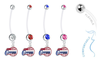 Los Angeles Clippers Pregnancy Maternity Belly Button Navel Ring - Pick Your Color