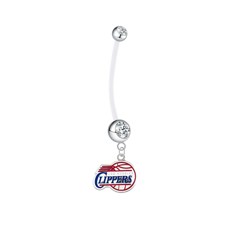 Los Angeles Clippers Pregnancy Maternity Clear Belly Button Navel Ring - Pick Your Color