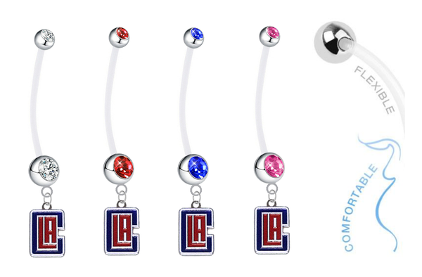 Los Angeles Clippers Style 2 Pregnancy Maternity Belly Button Navel Ring - Pick Your Color
