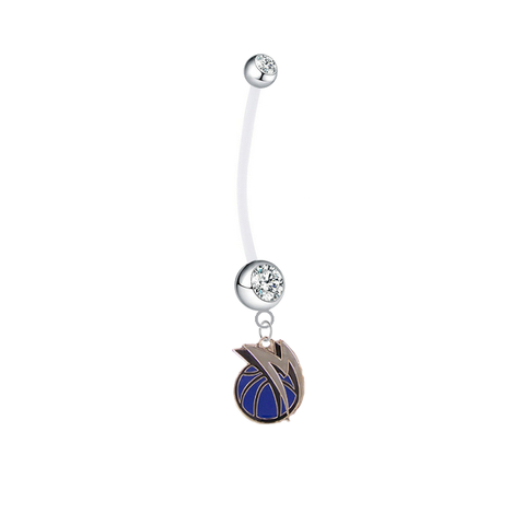 Dallas Mavericks Style 2 Pregnancy Clear Maternity Belly Button Navel Ring - Pick Your Color