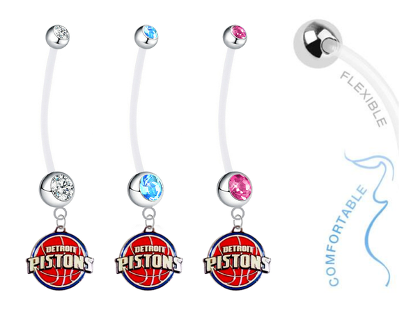 Detroit Pistons Boy/Girl Pregnancy Maternity Belly Button Navel Ring