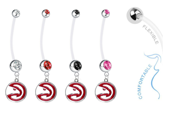 Atlanta Hawks Pregnancy Maternity Belly Button Navel Ring - Pick Your Color