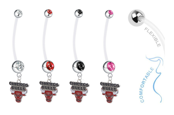 Chicago Bulls Pregnancy Maternity Belly Button Navel Ring - Pick Your Color