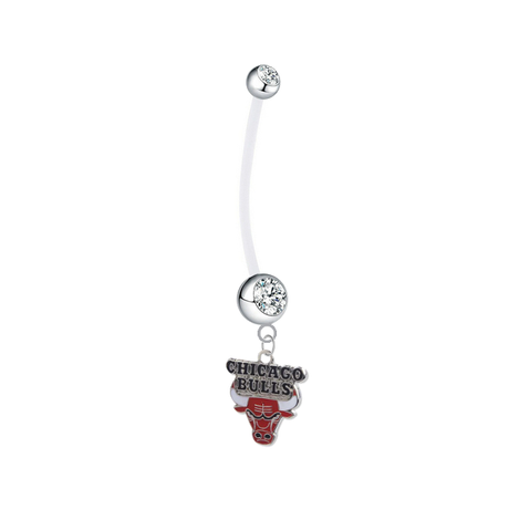 Chicago Bulls Pregnancy Maternity Clear Belly Button Navel Ring - Pick Your Color