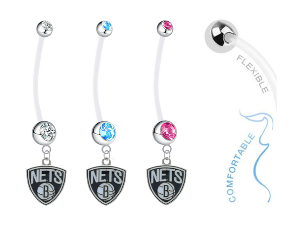Brooklyn Nets Boy/Girl Pregnancy Maternity Belly Button Navel Ring