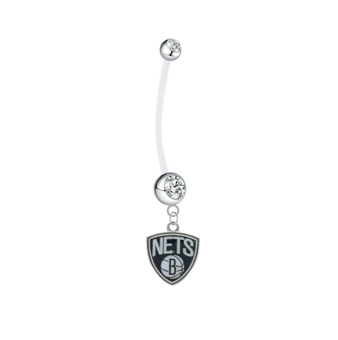 Brooklyn Nets Pregnancy Maternity Clear Belly Button Navel Ring - Pick Your Color