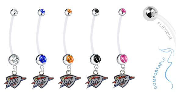 Oklahoma City Thunder Pregnancy Maternity Belly Button Navel Ring - Pick Your Color