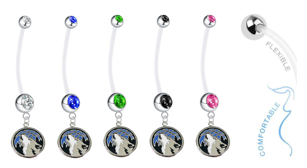 Minnesota Timberwolves Pregnancy Maternity Belly Button Navel Ring - Pick Your Color
