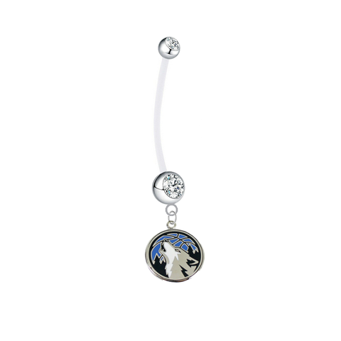 Minnesota Timberwolves Pregnancy Maternity Clear Belly Button Navel Ring - Pick Your Color