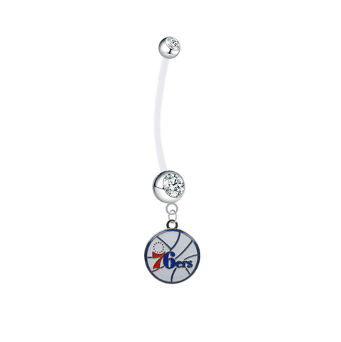 Philadelphia 76ers Pregnancy Maternity Clear Belly Button Navel Ring - Pick Your Color
