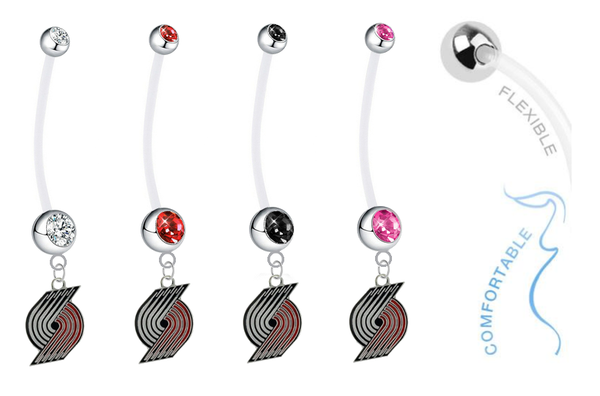 Portland Trail Blazers Pregnancy Maternity Belly Button Navel Ring - Pick Your Color