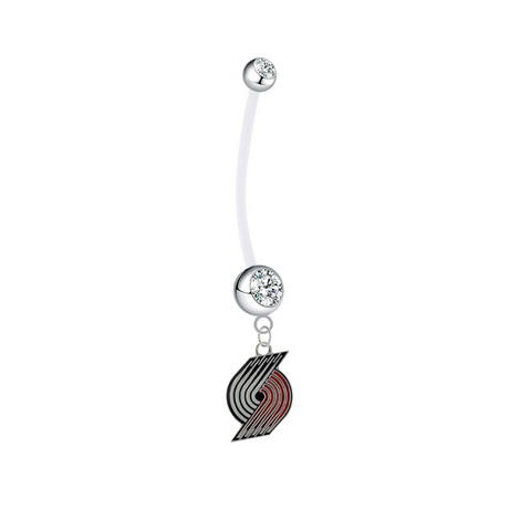 Portland Trail Blazers Pregnancy Maternity Clear Belly Button Navel Ring - Pick Your Color