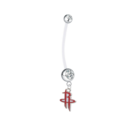 Houston Rockets Pregnancy Maternity Clear Belly Button Navel Ring - Pick Your Color