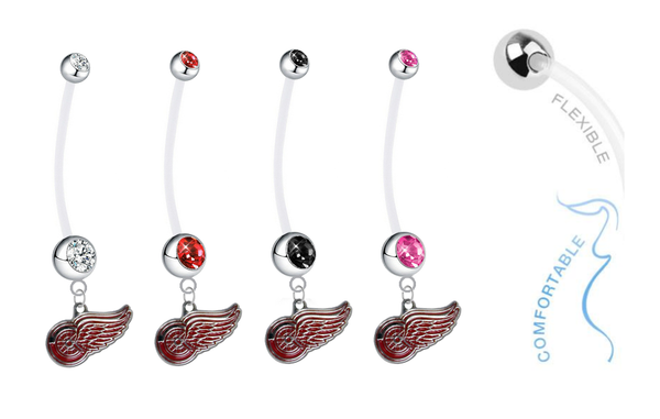 Detroit Red Wings Pregnancy Maternity Belly Button Navel Ring - Pick Your Color