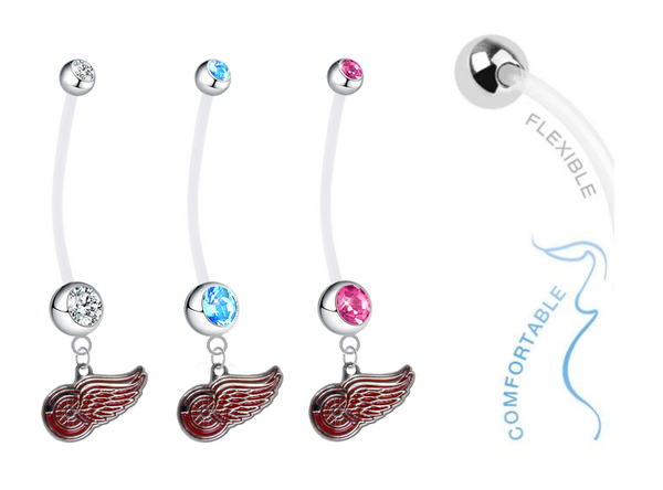 Detroit Red Wings Boy/Girl Pregnancy Maternity Belly Button Navel Ring