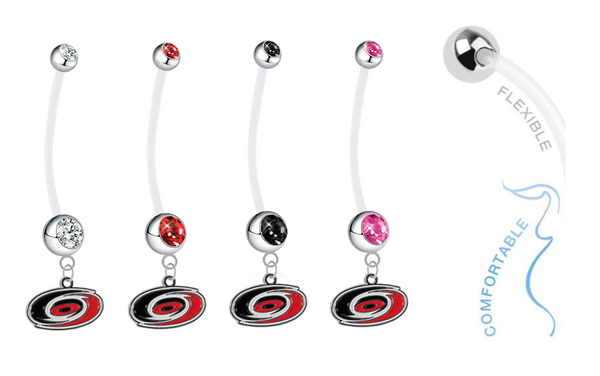 Carolina Hurricanes Pregnancy Maternity Belly Button Navel Ring - Pick Your Color