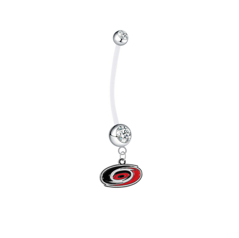 Carolina Hurricanes Pregnancy Maternity Clear Belly Button Navel Ring - Pick Your Color