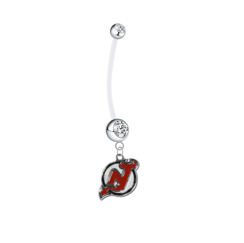 New Jersey Devils Pregnancy Maternity Clear Belly Button Navel Ring - Pick Your Color