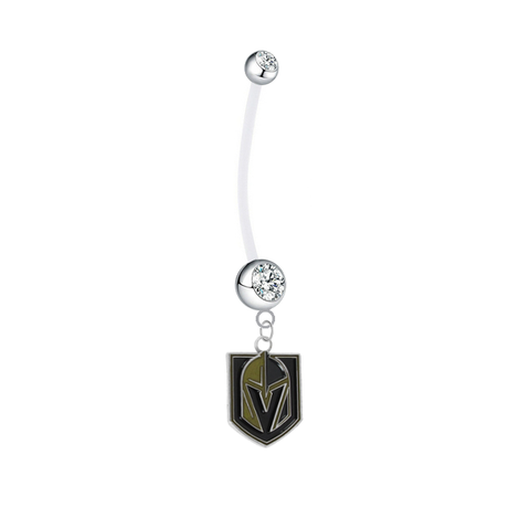 Vegas Golden Knights Pregnancy Maternity Clear Belly Button Navel Ring - Pick Your Color