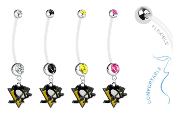 Pittsburgh Penguins Pregnancy Maternity Belly Button Navel Ring - Pick Your Color