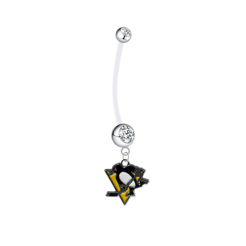 Pittsburgh Penguins Pregnancy Maternity Clear Belly Button Navel Ring - Pick Your Color
