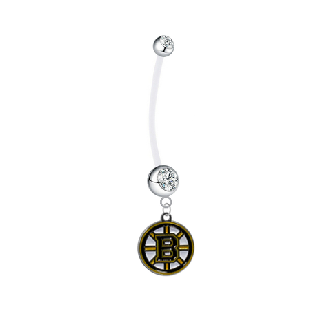 Boston Bruins Pregnancy Maternity Clear Belly Button Navel Ring - Pick Your Color