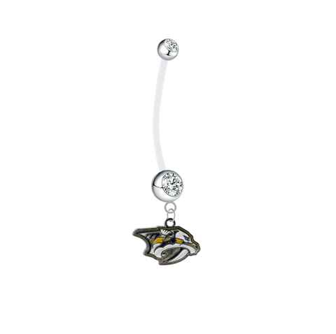 Nashville Predators Pregnancy Maternity Clear Belly Button Navel Ring - Pick Your Color