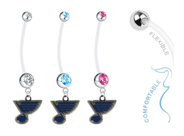 St Louis Blues Boy/Girl Pregnancy Maternity Belly Button Navel Ring