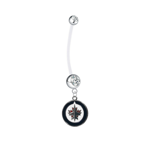 Winnipeg Jets Pregnancy Maternity Clear Belly Button Navel Ring - Pick Your Color