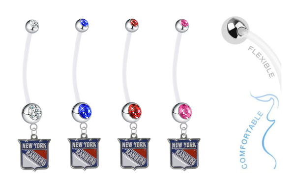 New York Rangers Pregnancy Maternity Belly Button Navel Ring - Pick Your Color