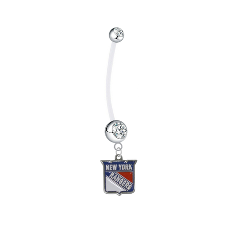 New York Rangers Pregnancy Maternity Clear Belly Button Navel Ring - Pick Your Color