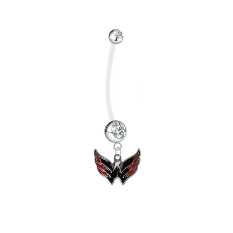 Washington Capitals Pregnancy Maternity Clear Belly Button Navel Ring - Pick Your Color