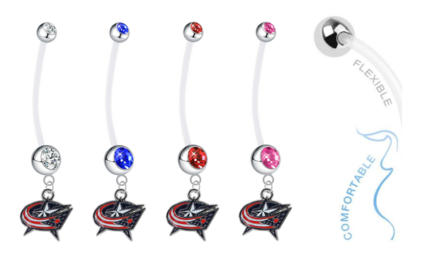 Columbus Blue Jackets Pregnancy Maternity Belly Button Navel Ring - Pick Your Color