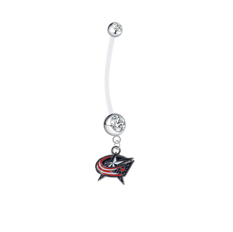 Columbus Blue Jackets Pregnancy Maternity Clear Belly Button Navel Ring - Pick Your Color