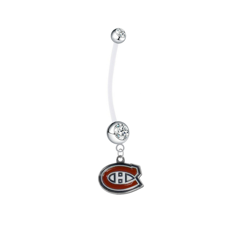 Montreal Canadiens Pregnancy Maternity Clear Belly Button Navel Ring - Pick Your Color
