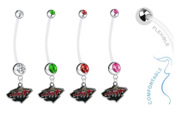 Minnesota Wild Pregnancy Maternity Belly Button Navel Ring - Pick Your Color