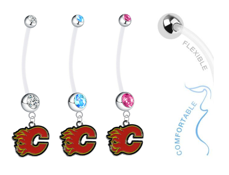 Calgary Flames Boy/Girl Pregnancy Maternity Belly Button Navel Ring