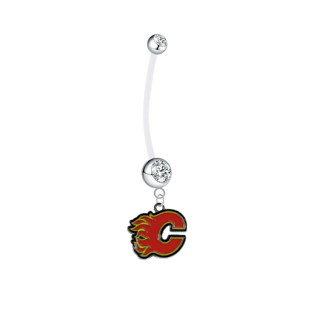 Calgary Flames Boy/Girl Clear Pregnancy Maternity Belly Button Navel Ring