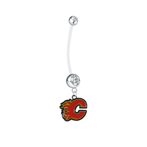Calgary Flames Pregnancy Clear Maternity Belly Button Navel Ring - Pick Your Color