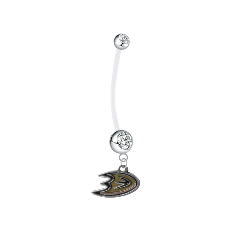 Anaheim Ducks Pregnancy Maternity Clear Belly Button Navel Ring - Pick Your Color
