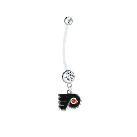 Philadelphia Flyers Pregnancy Maternity Clear Belly Button Navel Ring - Pick Your Color