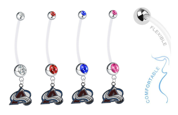 Colorado Avalanche Pregnancy Maternity Belly Button Navel Ring - Pick Your Color