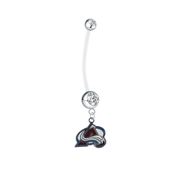Colorado Avalanche Pregnancy Maternity Clear Belly Button Navel Ring - Pick Your Color