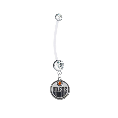 Edmonton Oilers Pregnancy Maternity Clear Belly Button Navel Ring - Pick Your Color